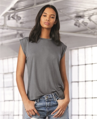 8804 Women's Flowy Muscle Tank with Rolled Cuffs Catalog