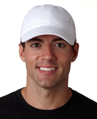 UltraClub 8111 Brushed Twill Unconstructed Dad Hat WHITE