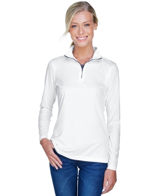 UltraClub 8424L Ladies' Cool & Dry Sport Performance Interlock Quarter-Zip Pullover WHITE