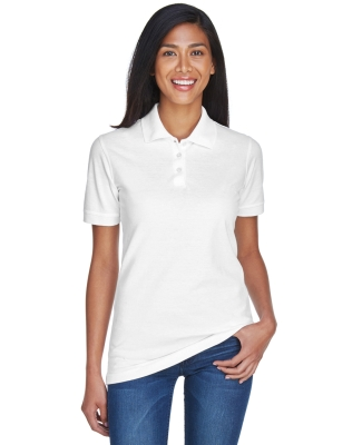 8530 UltraClub® Ladies' Classic Pique Cotton Polo  WHITE