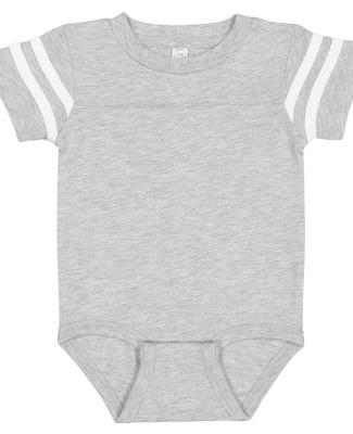 Rabbit Skins 4437 Infant Football Onesie VN HTHR/ BLD WHT