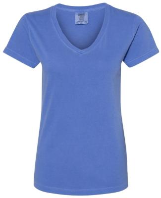 Comfort Colors 3199 Women's V-Neck Tee FLO BLUE