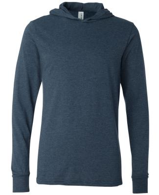 BELLA+CANVAS 3512 Unisex Jersey Hooded T-Shirt HEATHER NAVY