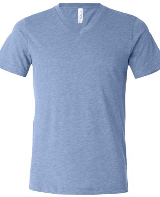 BELLA+CANVAS 3415 Men's Tri-blend V-Neck T-shirt BLUE TRIBLEND