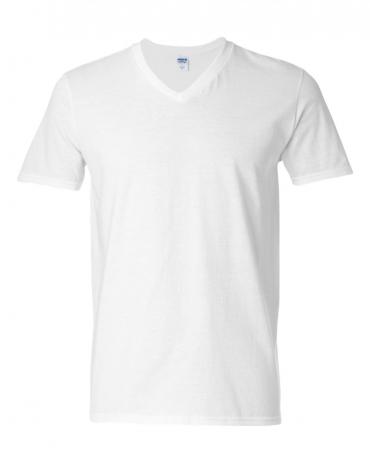 64V00 Gildan Adult Softstyle V-Neck T-Shirt WHITE