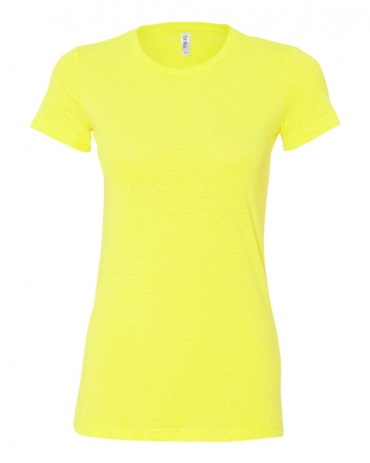 BELLA 6650 Womens Poly-Cotton T-Shirt NEON YELLOW