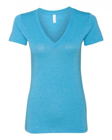 BELLA 8435 Womens Fitted Tri-blend Deep V T-shirt AQUA TRIBLEND