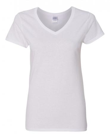 5V00L Gildan Heavy Cotton™ Ladies' V-Neck T-Shirt WHITE