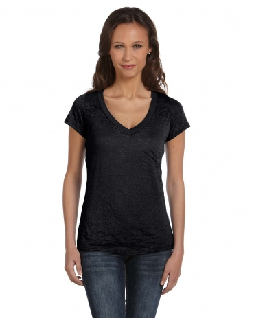 BELLA 8605 Ladies Burnout V-Neck T-shirt BLACK