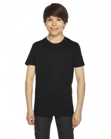 BB201W Youth Poly-Cotton Short-Sleeve Crewneck BLACK