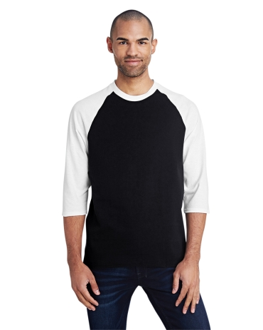 5700 Gildan Heavy Cotton Three-Quarter Raglan T-Shirt BLACK/ WHITE