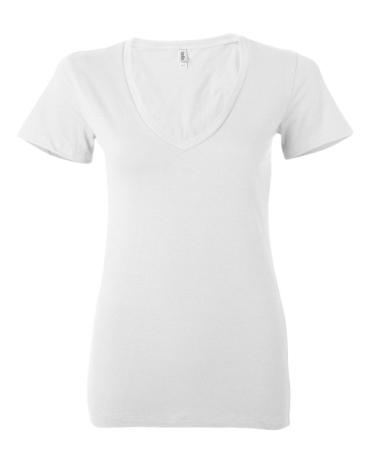 BELLA 6035 Womens Deep V-Neck T-shirt WHITE