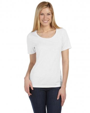 BELLA 6406 Missy Scoop Neck T-shirt WHITE FLECK TRIBLD