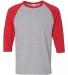 5700 Gildan Heavy Cotton Three-Quarter Raglan T-Shirt SPORT GREY/ RED