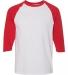 5700 Gildan Heavy Cotton Three-Quarter Raglan T-Shirt WHITE/ RED