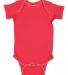 4400 Onsie Rabbit Skins® Infant Lap Shoulder Creeper RED/ WHITE PICOT