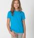 BB201W Youth Poly-Cotton Short-Sleeve Crewneck NEON HTHR BLUE