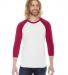 BB453 American Apparel Unisex Poly Cotton 3/4 Sleeve Raglan WHITE/ RED
