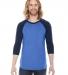 BB453 American Apparel Unisex Poly Cotton 3/4 Sleeve Raglan HTH LK BLUE/ NVY