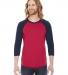 BB453 American Apparel Unisex Poly Cotton 3/4 Sleeve Raglan RED/ NAVY