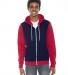 F497 American Apparel Flex Fleece Zip Hoody NAVY/ RED