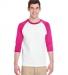 5700 Gildan Heavy Cotton Three-Quarter Raglan T-Shirt WHITE/ HELICONIA
