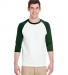 5700 Gildan Heavy Cotton Three-Quarter Raglan T-Shirt WHITE/ FOREST