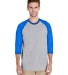 5700 Gildan Heavy Cotton Three-Quarter Raglan T-Shirt SPORT GRY/ ROYAL