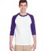 5700 Gildan Heavy Cotton Three-Quarter Raglan T-Shirt WHITE/ PURPLE