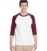 5700 Gildan Heavy Cotton Three-Quarter Raglan T-Shirt WHITE/ MAROON