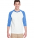 5700 Gildan Heavy Cotton Three-Quarter Raglan T-Shirt WHT/ CAROLNA BLU
